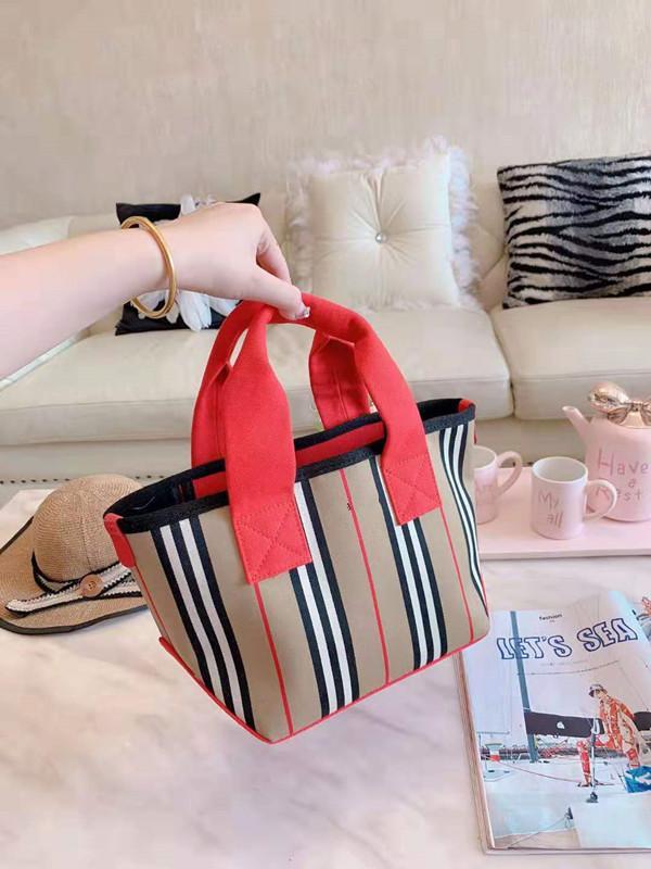MS 고품질 핸드백 여성 컬러 매칭 그리드 격자 무늬 캔버스 소재 휴대용 작은 쇼핑 바구니 여성 가방 디자이너 토트