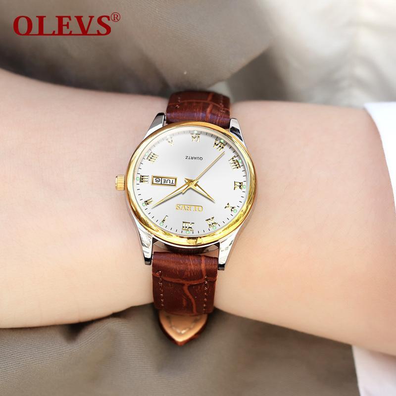 OLEVS модный бренд женские часы авто дата коричневая кожа для женщин розовое золото кварцевые часы Женщины Повседневная дисплей наручные часы