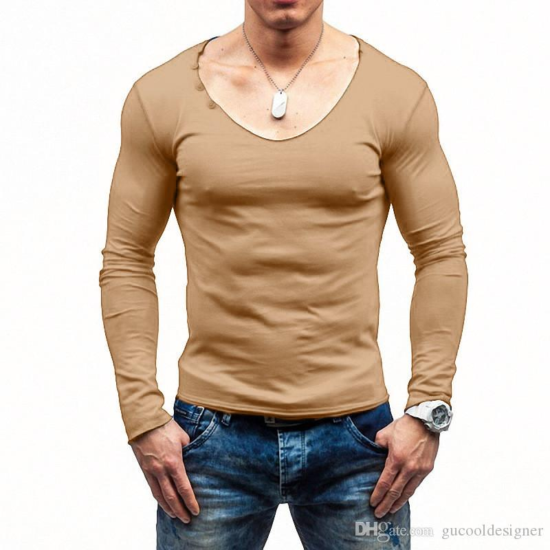 Frühling Mens Designer T-Shirt Fashion Solid mit V-Ausschnitt T-Shirts beiläufige dünne Männer Tees