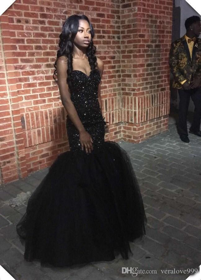 Sparkly Sequins Black Girls Mermaid African Prom Dresses 2018 Sweetheart Beaded Formal Dress Sexy Fitted Pageant Gowns Custom Made