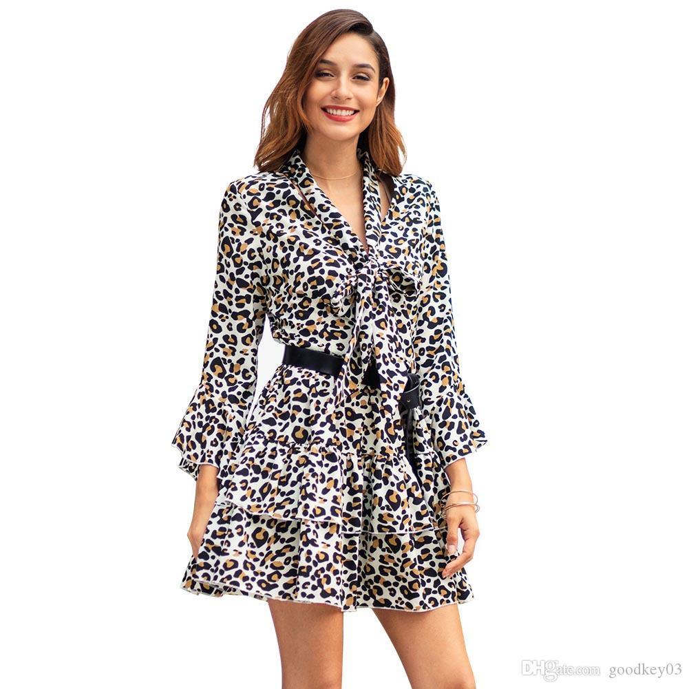Womens 섹시한 V 넥 레오파드 프린트 된 프릴 긴 소매 파티 랩 플레어 슬리브 맥시 허리 드레스