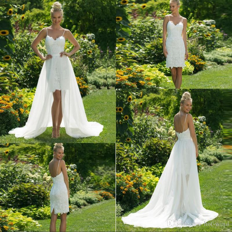 Sexy Short Sheath Wedding Dress Spaghetti Strap Backless Sweetheart Neck Sleeveless Lace Bride Dress with Detachable Train Wedding Gowns