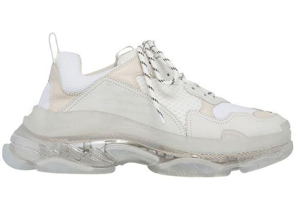 с коробкой 2019 Мужские и женские Повседневная обувь Тройные S Очистить Подошва Белый Черный Зеленый Тренеры 36-45