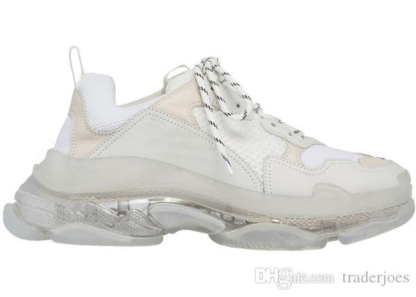 kutu ile 2019 Erkek ve Casual Womens Shoes Üçlü S Şeffaf Sole Beyaz Siyah Yeşil Eğitmenler 36-45