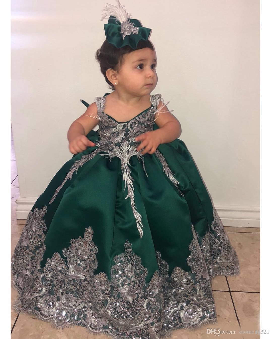 Vestidos de niña de flores de encaje verde oscuro Vestidos de fiesta Vestidos de novia de satén Vestidos de novia de comunión Vintage Vestidos Vestidos