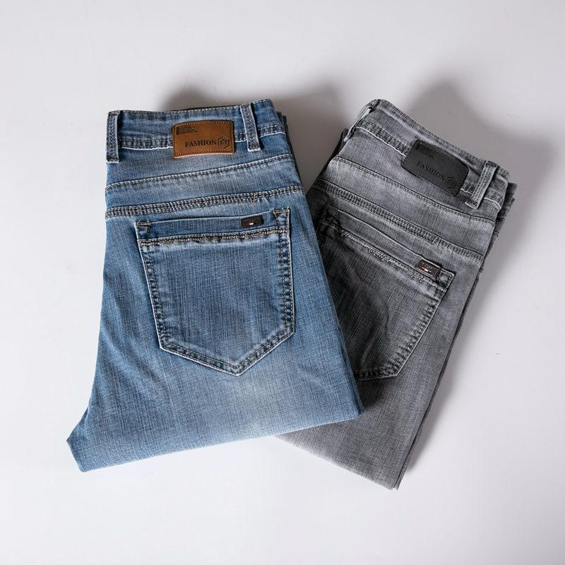 Verano Jeans de algodón para hombre marca de vaqueros de las bragas de los hombres de negocios informal de mitad de Cintura recta Jeans Tamaño de algodón Hombres Mujer Plus 40