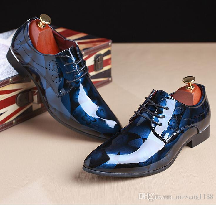 2019 Men Dress Wedding Shoes Shadow Patent Leather Luxury Fashion Groom Party Shoes Men Oxford Shoes Male Casual Fla Large Size: 39-48