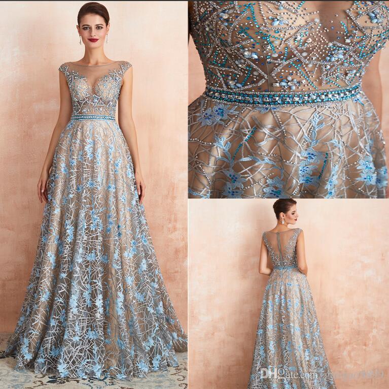 Robe De Soiree Gatsby 2019 Luxus erstaunliche Spitze A-Line Abendkleider yousef aljasmi schiere Ausschnitt Perlen Kristall arabische Abendkleider auf Lager