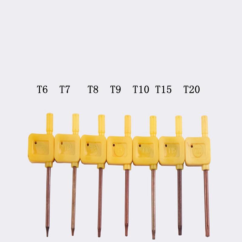 Nuevo MINI S2 Destornillador T6 T7 T8 T9 T10 T15 T20 Destornilladores con llave de bandera amarilla Llave inglesa Herramientas abiertas