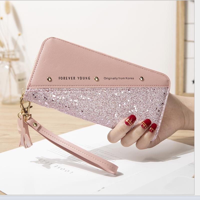 Carteras Larga Women's Wallet Cremallera Estudiante Versión Coreana Puntando Hit Color Tassel Silvity Remache Teléfono Móvil