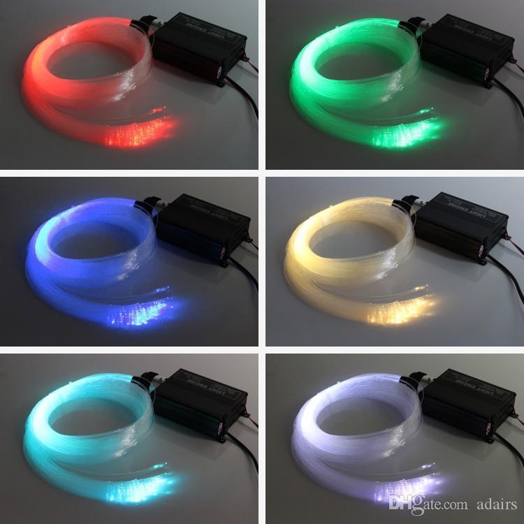 RGB LED الملونة البلاستيك الألياف البصرية ستار السقف الخفيف كيت 150PCS 0.75mm 2M + 16W RGB أضواء الألياف الضوئية محرك + 24Key حدة عن بعد