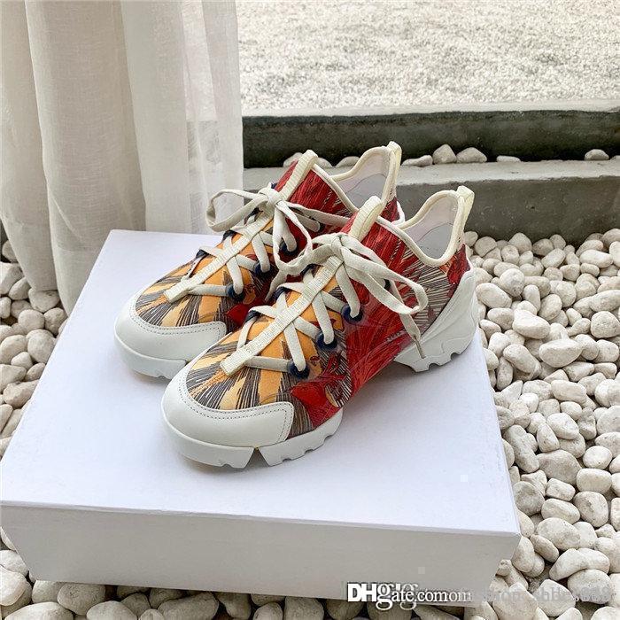 Karışık renk baskı ipek inek derisi ile yüksek versiyon Spor baba sneaker likra kumaş, orijinal kutusunda 35-40 ile spor ayakkabıları Kalın tabana vurma
