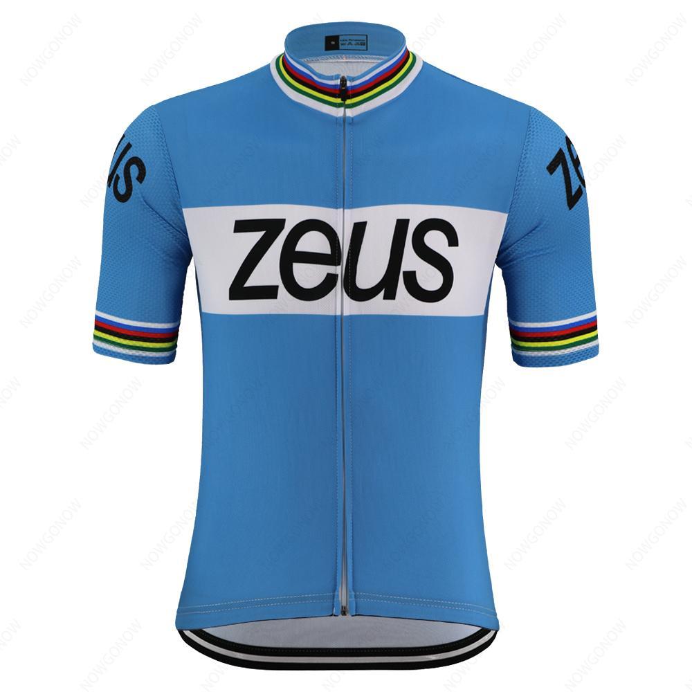 자전거 의류 MTB 저지를 경주 여름 ZEUS 레트로 자전거 저지 프로 팀 남자의 파란색 자전거 의류 짧은 소매 도로 자전거 의류