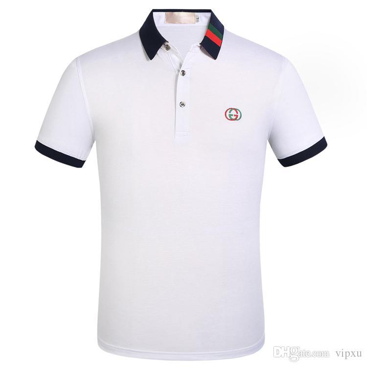 2019 Poloshirt Katı Polo Gömlek Erkekler Lüks Polo Gömlek kısa Kollu Erkek Temel Top Pamuk Polos için Boys Marka Tasarımcı Polo Homme