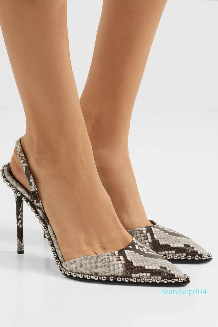 2019 grenzüberschreitend ausschließlich für Damenmode Schuhe, spitz Schlange besetzte hochhackige Schuhe, Außenhandel Damenschuhe, plus Größe