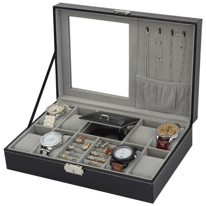 Cuero de la PU reloj de la joyería caja de gama alta Organizador Caja de almacenamiento caja de reloj Para Jewery ornamento ataúd contenedores Cajas portátil