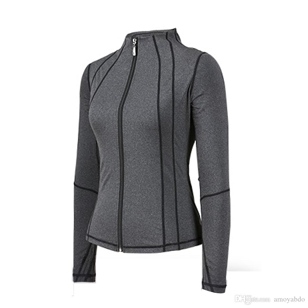 Y022 OEM / ODM Hot Moda Fitness Sportswear Roupas Femininas Outono Inverno Mulheres Yoga Jaqueta Esportiva Com Bolso Com Zíper Mangas Compridas