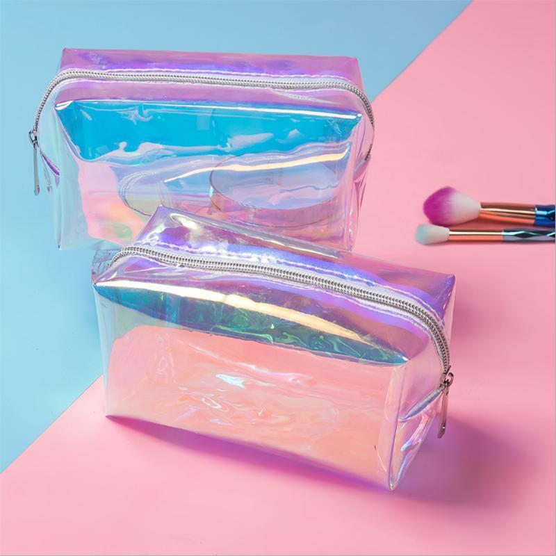 Fashion Laser Cosmetic Casmetic Casos Holográfico Localización Maquillaje Bolsa Bolso Mujeres Zipper Purse Bolso Cosmético Laser WHPVJ