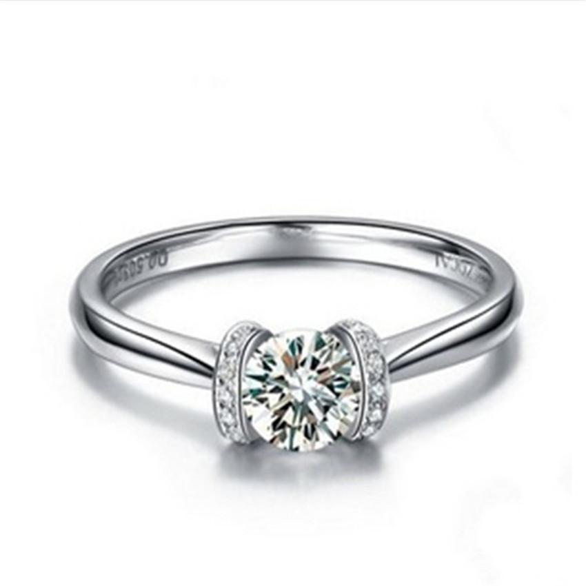 خاتم زفاف من الفضة المويسانتي جوهرة 1Ct 6.5mm G-H خاتم مويسانيتي الصلبة خاتم من الفضة الاسترليني 925 المرأة الاصطناعية خاتم الماس