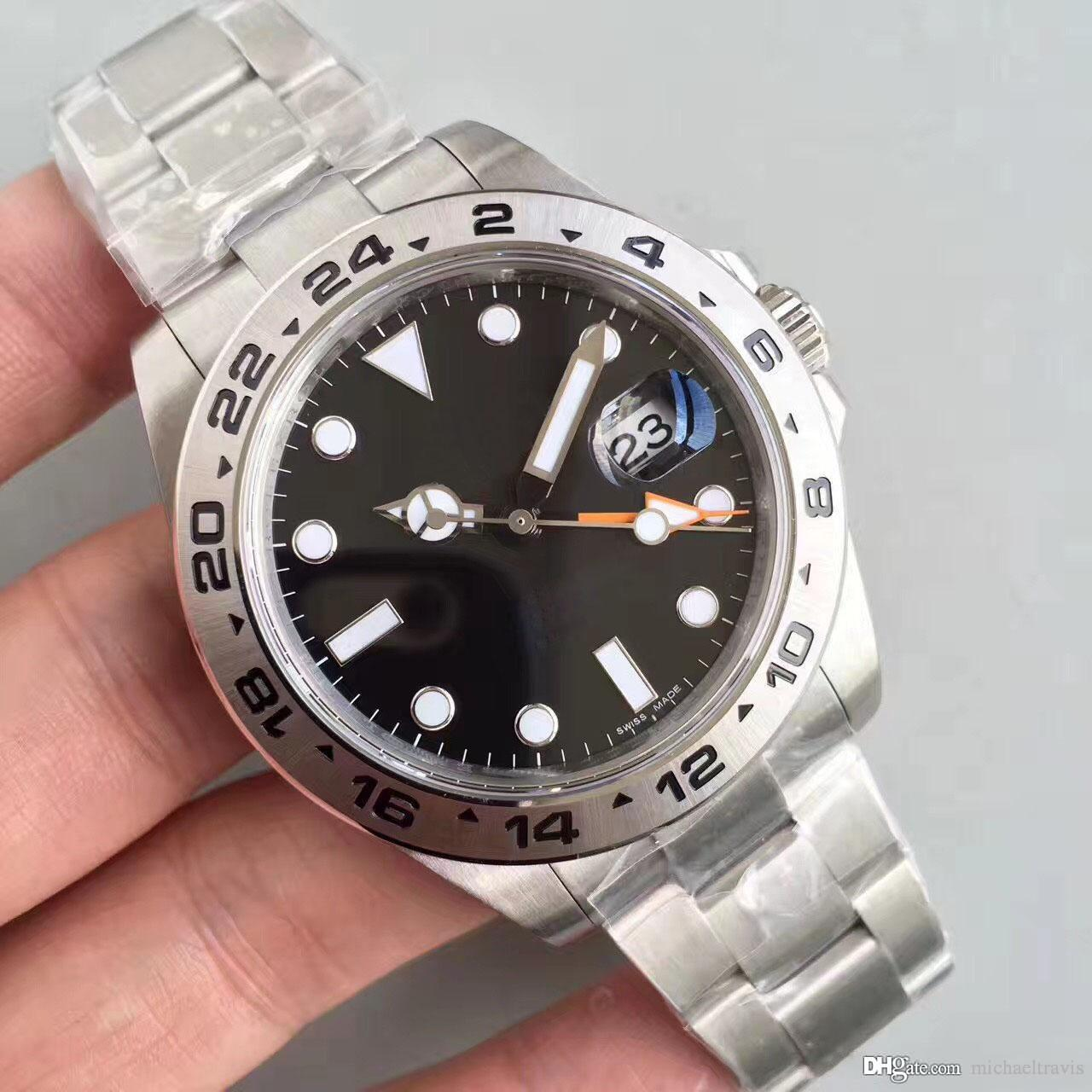 Mens Watches EXP Black 40MM Sapphire 316 Steel with GMT Hands Automatic Mechanical Stainless Steel Bracelet men Watches