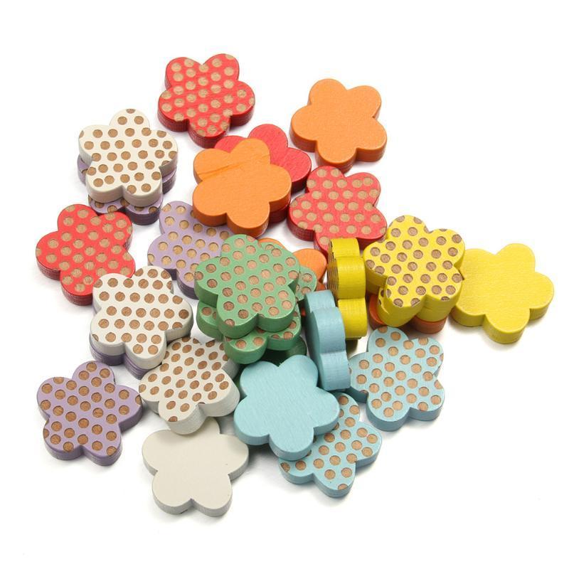 50Pcs Nouveau Perles en bois en forme de fleur en vrac Perle pour Bijoux Faire élégante Pendentifs Accessoires Taille 20x20x5mm