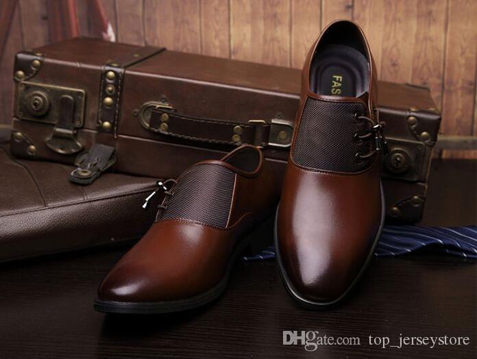 2019 couro asa Homens Vestidos Oxfords handmade tênis sapatos Genuine sapatos bezerro brogue cor escura