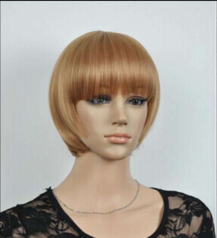 Peruca frete grátis venda quente nova moda loira curto reta das mulheres bob perucas de cabelo da senhora peruca