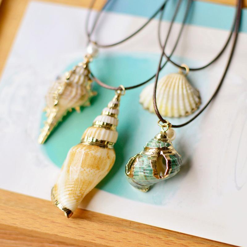 قلادة القلائد لطيف الذهب حافة المحيط محارة قذيفة سترة جلدية حبل قلادة المرأة الأزياء سحر مجوهرات اكسسوارات بالجملة