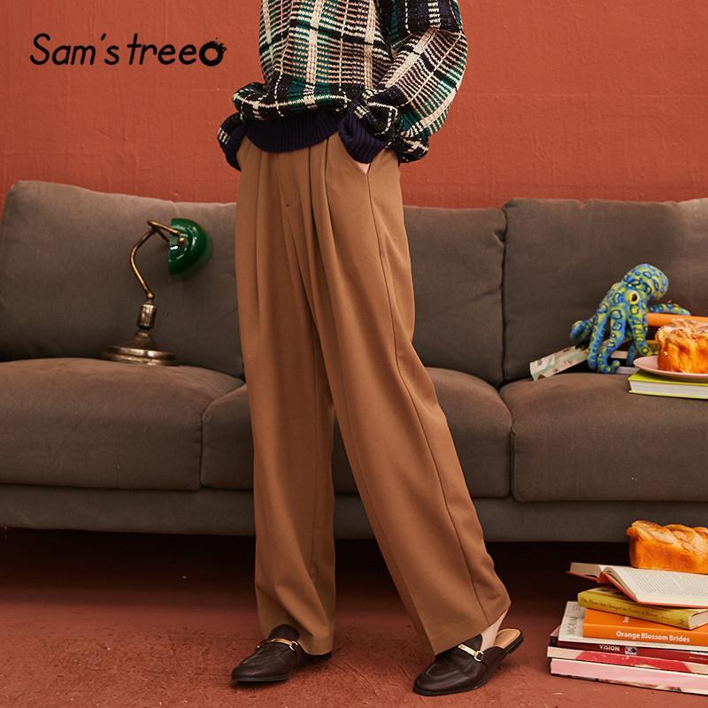 Sam arbre de kaki solide Minimaliste Style Large Jambe Femmes Costume Pantalon 2019 hiver pur Zipper Taille Occasionnel Lâche Office Lady pantalon Y200418