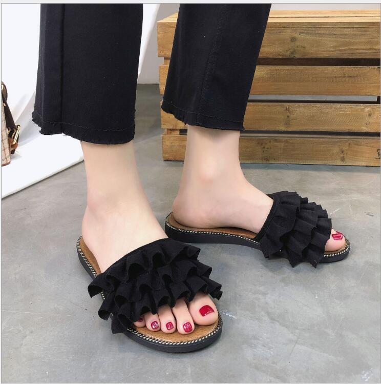 Горячая распродажа-женщины корейский стильный флок кружева тапочки студентка лето плоские причинно-следственные сандалии обуви падение корабля
