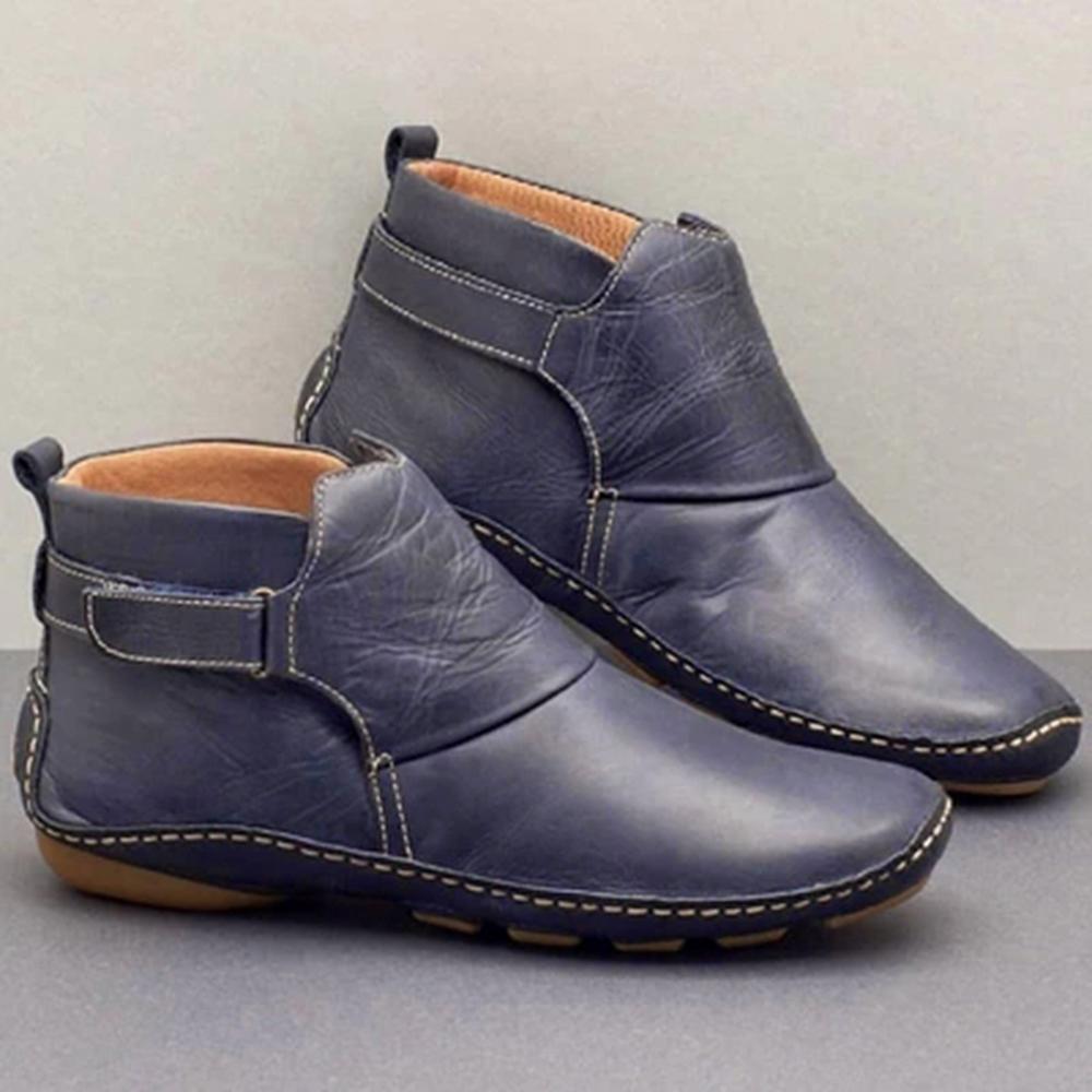 2020 Ботильоны Женщины Кожа PU женские зимние Vintage Punk Warm Short Boots Flat Женская обувь Женщина