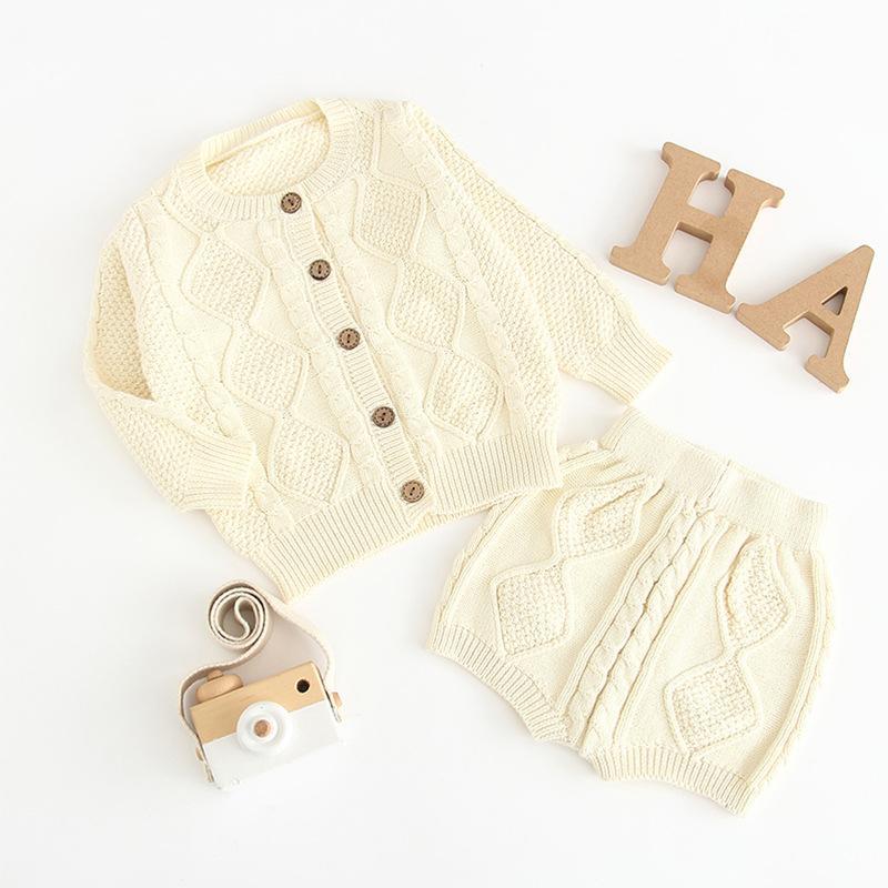 2019 Новый год осень детский свитер хлопок набор Детская одежда набор мальчиков и девочек детские вязаные свитера кардиган + шорты набор