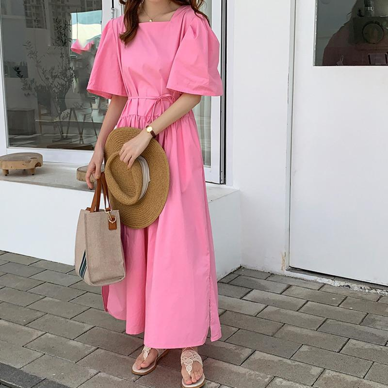 Летние розовые свободные повседневные плюс размер шлиода цвет квадратный воротник лук высокая талия длинная футболка платье платья простая девушка женщина E037