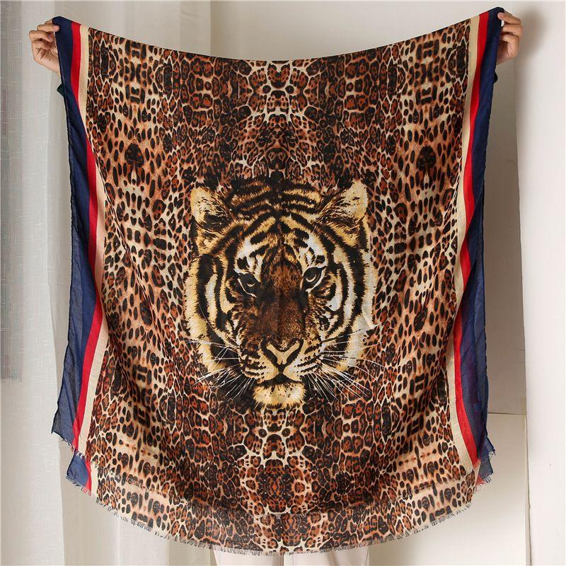 Impresión de la cabeza del tigre del estampado leopardo de la bufanda Señora Mantener caliente Tiempo de Calidad Todo-fósforo Fondo mantón largo de la raya de la manera caliente EdgeNew