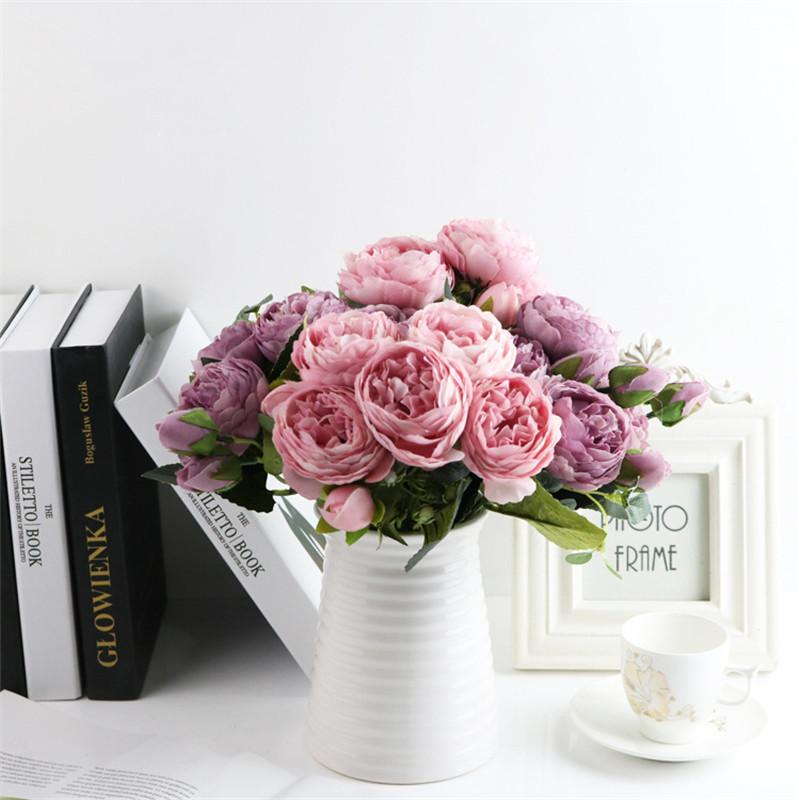 1 Bundle Rose Pink Silk Peony Artificial Flowers Bouquet 5 Big Head and 4 Bud Fake Flowers for Home Wedding Decoration Indoor