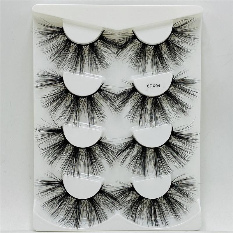 FREE UPS 4 pairs 6D Faux Mink Lashes long False Eyelashes Dramatic Volume Fake Lashes Makeup Eyelash Extension Silk Eyelashes