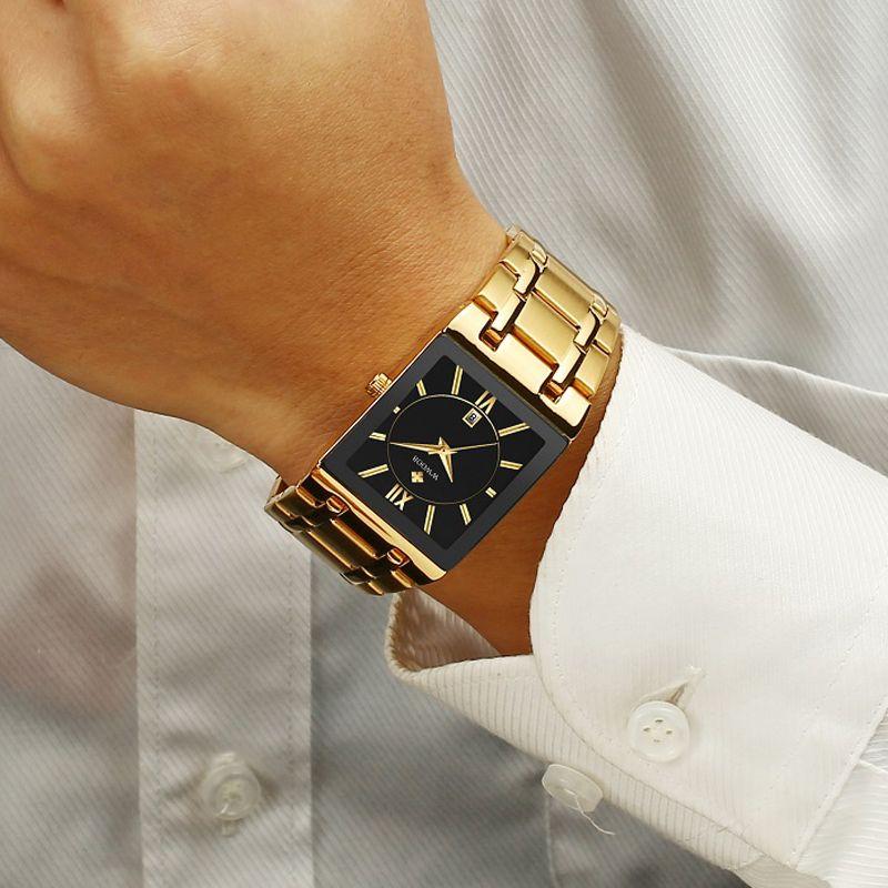 Los hombres relojes de primeras marcas de lujo WWOOR Oro Negro cuadrado del cuarzo hombres del reloj de oro 2019 a prueba de agua reloj de pulsera masculino hombres relojes 2019 T200113