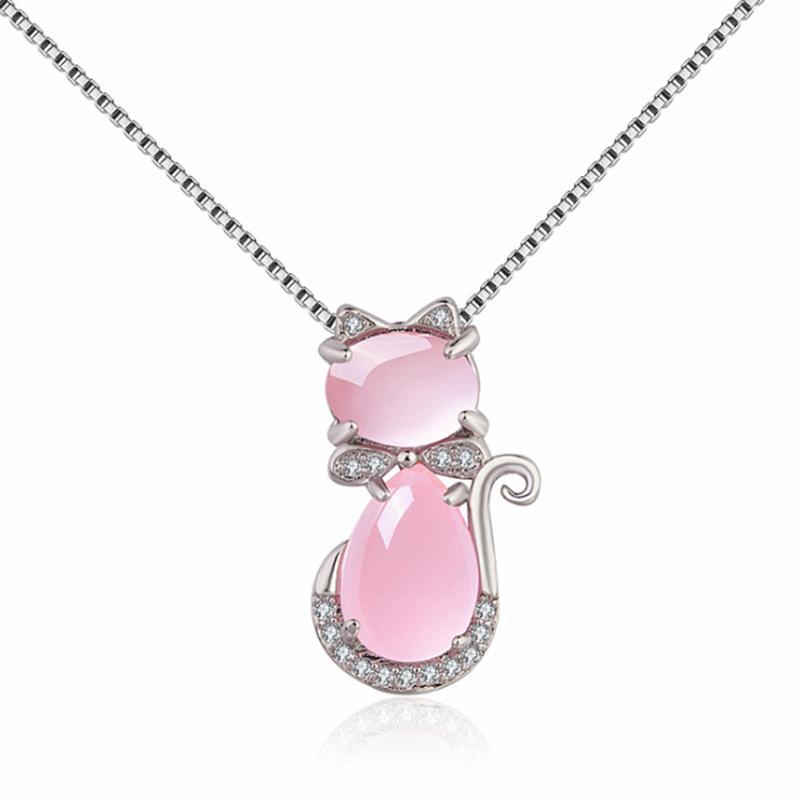 Forma Quartzo Rosa Gato Adorável banhado a prata de Rosa Pingente Fazer a ligação Colar Corrente com Cubic Zirconia Jewelry