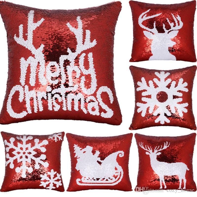 Weihnachtskissenbezug Mermaid Pailletten Snowflake Schlitten Deer Pillowcase Kissen Abdeckung Kissenbezug Partei-Dekor 6 Designs