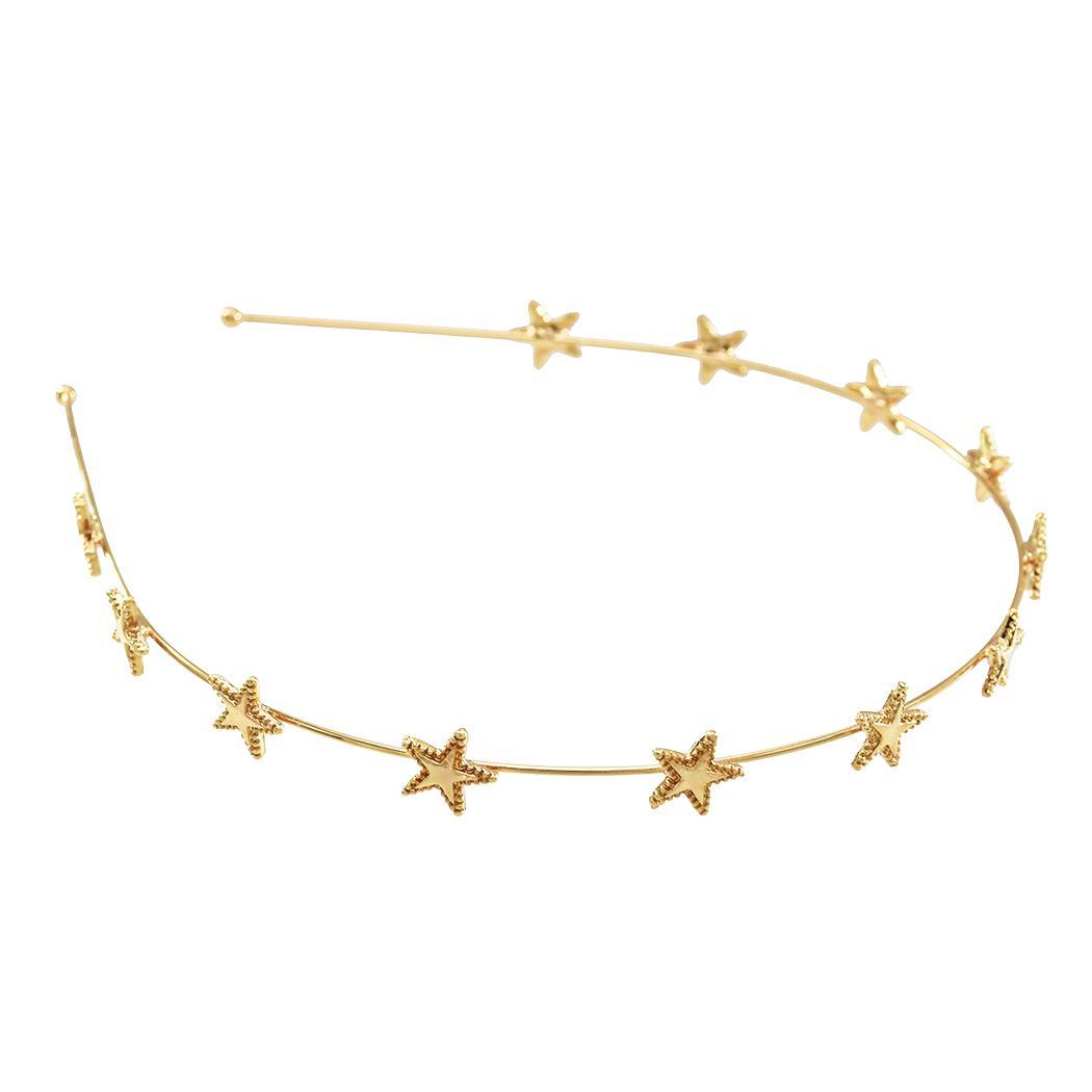 Joyería de plata de la estrella de oro diadema de pelo accesorios de playa del verano delgada cadena simple muchacha de las mujeres venda principal Hairband