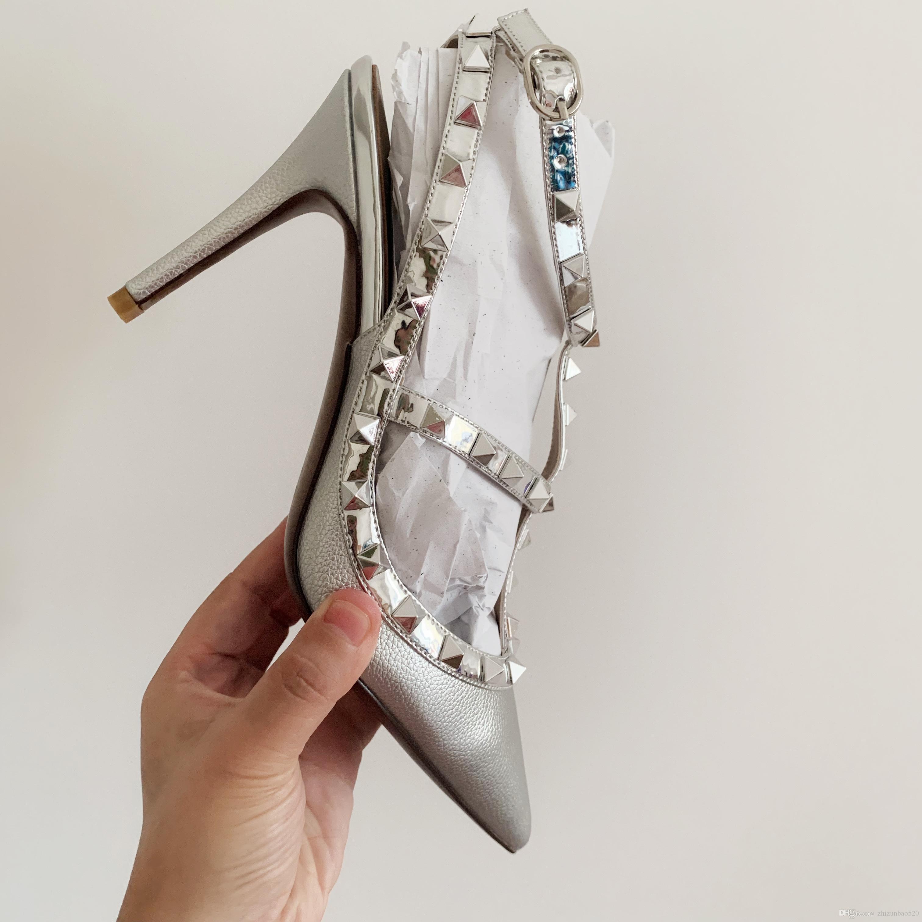 Günlük Tasarımcı Seksi bayan moda gümüş mat deri çivili ani ayak Yüksek topuklar slingback ayakkabı düğün ayakkabıları yepyeni işaret