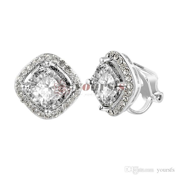 Yoursfs Femmes Square Crystal Clip-On Boucles d'oreilles Bride 18K Gold Plated Parti anniversaire cadeau de Noël