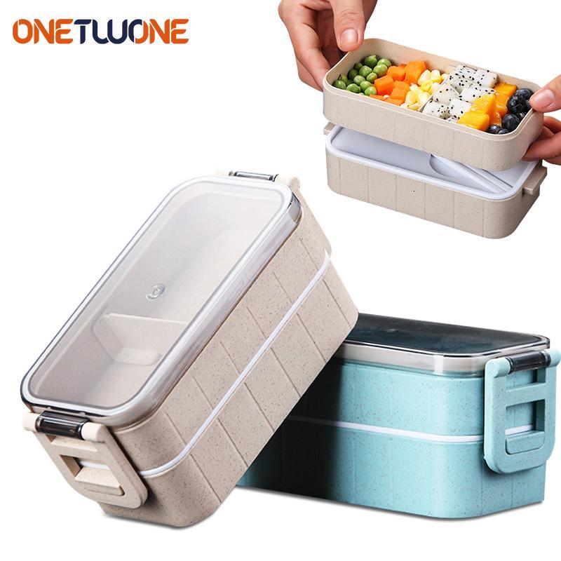 صندوق الغداء مربع بينتو القمح سترو صناديق ميكروويف أواني تخزين الطعام الغذاء الحاويات