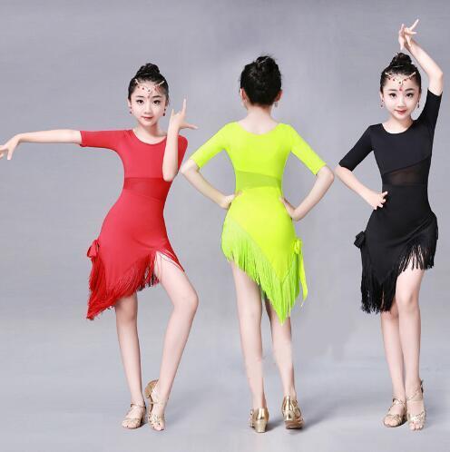 مرحلة ارتداء منتصف كم طويل الرباط شبكة مذهل قاعة الرقص فساتين للاطفال مثير السالسا تانجو تنورة الأطفال اللاتينية الرقص اللباس الفتيات