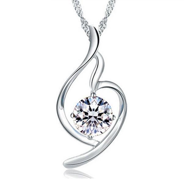 Kadınlar kalp kolye kolye Bayanlar Lüks Zirkonyum Ametist Kristal kolye Su kolye Mor / Gümüş Renk