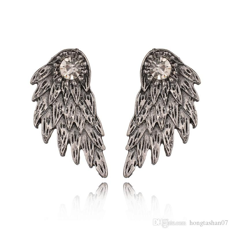 New Gothic Silver Color Angel Wings Alloy Stud Earrings Cool Black Feather Earrings for Women Men Fashion Jewelry E1025