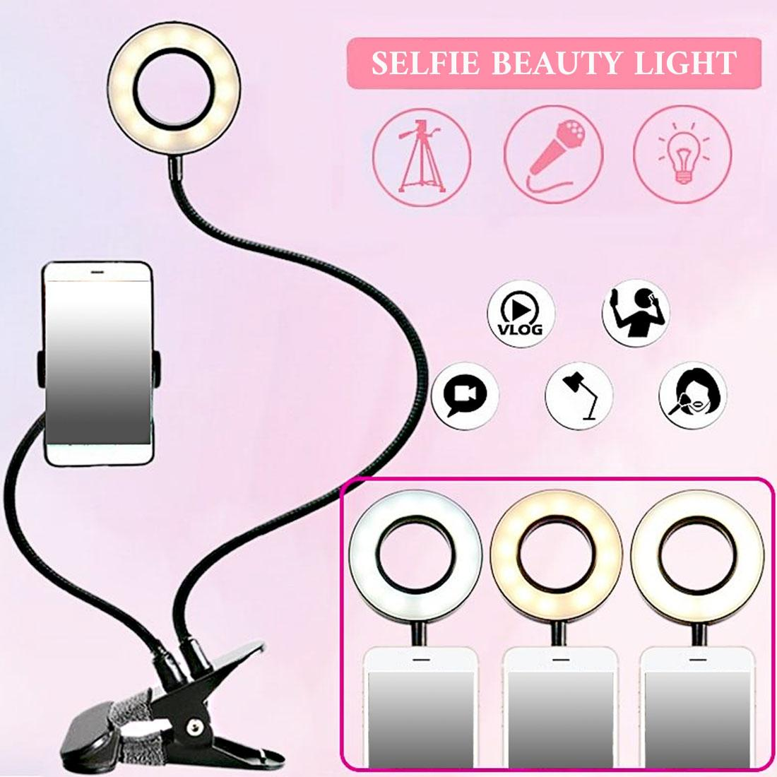 Selfie Flash Ring Light + Mobile Phone Holder LED Camera Long Arm USB Clip On USB 10-Level Brightness Mobile Clip light