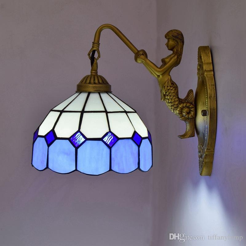Lâmpadas de parede azul do Mediterrâneo Tiffany Art Staneid luzes parede de vidro Vintage Mermaid Decoração Espelho de Luz para quarto sala de estar