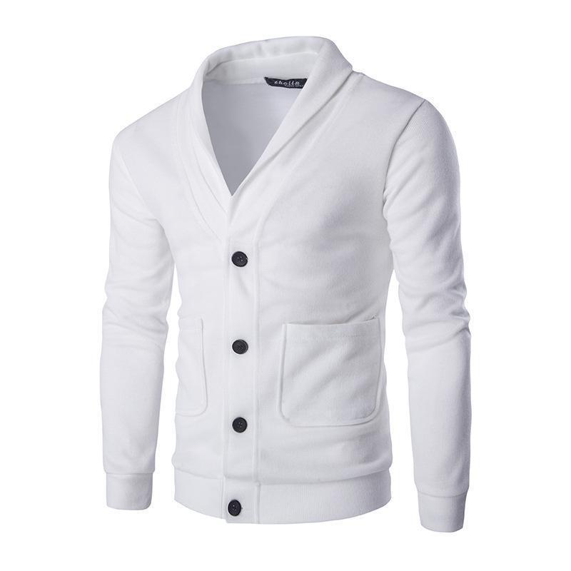 Uomini di modo del cardigan Slim Fit Tinta unita Maglieria stile coreano Abbigliamento casual maschile V-Collo di trasporto delle parti superiori Asiatica Misura