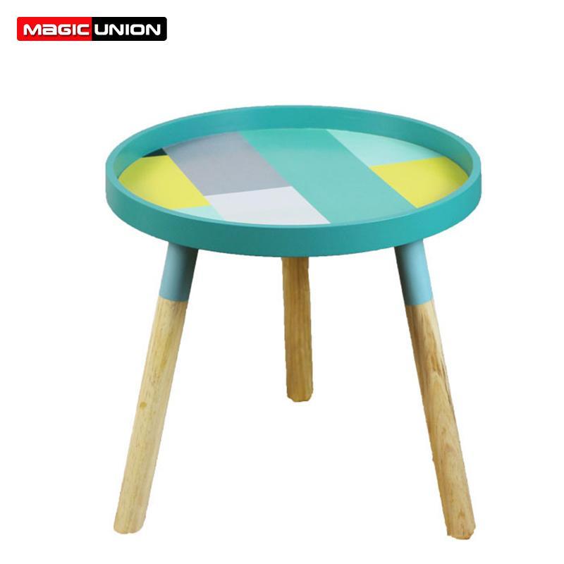 Magic Union Nordic Living Room Small Tea Table Coffee Round Table Mini Bedside Table Simple Bedroom Solid Wood Corner